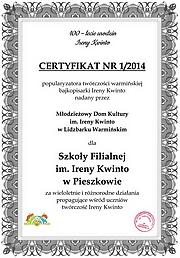 Certyfikat Ireny Kwinto